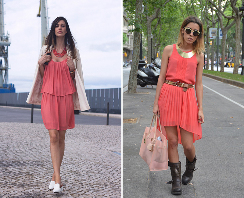 coral street style, coral dress street style