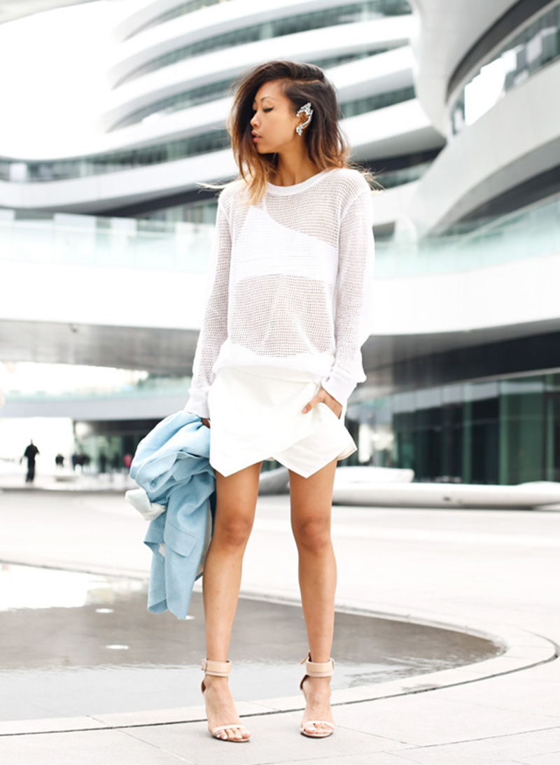 white zara skort, all white outfit, white street style