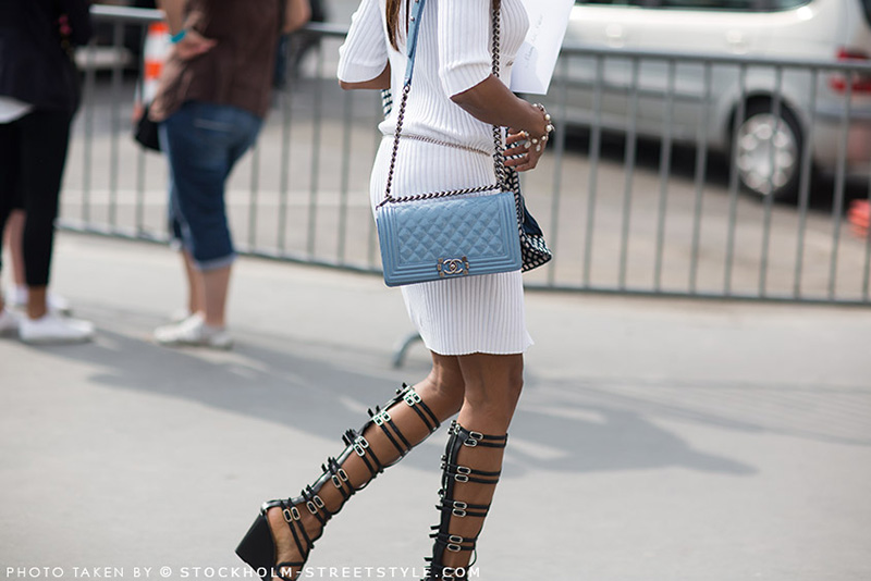 gladiator sandals, chanel, chanel street style