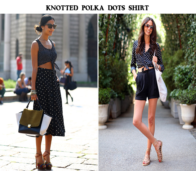 knotted polka dots blouse, crop tops polka dots blouse, celine bag