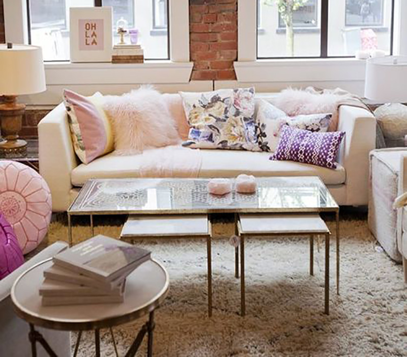fluffy pillows, feminine decor, white couch
