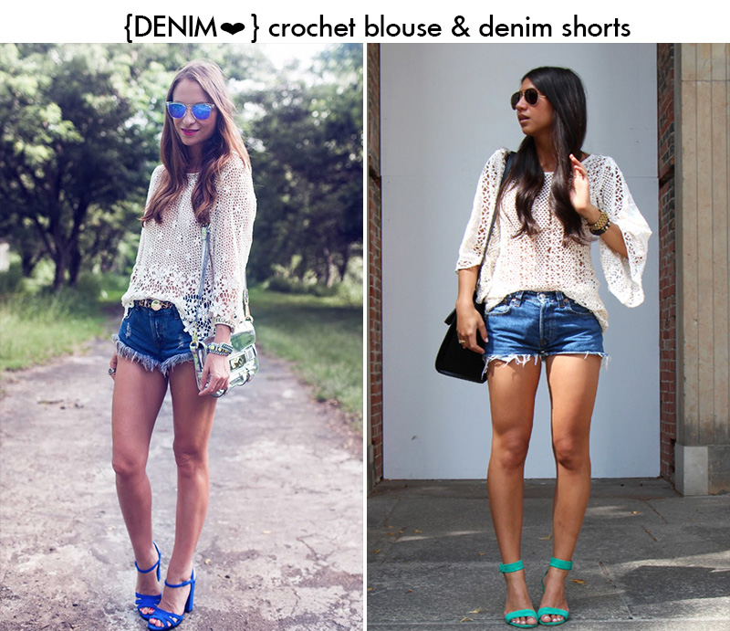 crochet blouse style, crochet blouse, crochet denim shorts