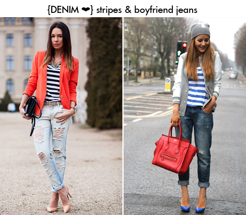 boyfriend jeans inspiration, striped blouse outfit, stripes inspiration
