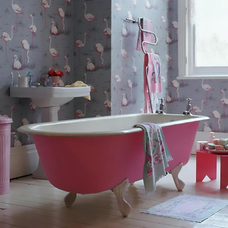flamingo wallpaper, pink bathtub