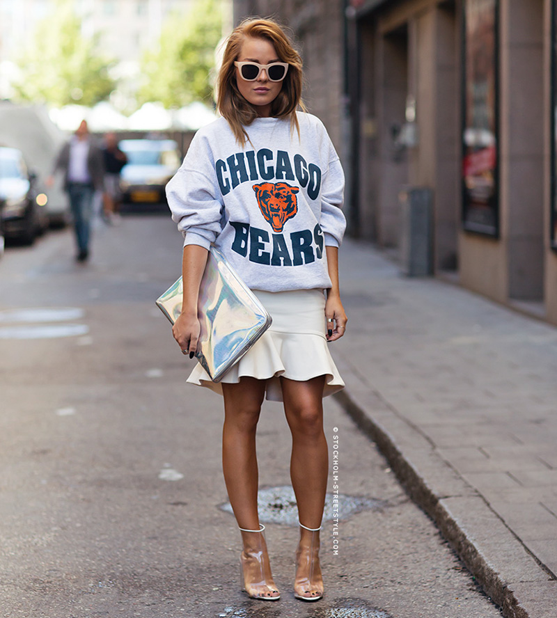 angelica blick style, look of the day, stockholm street style, sport sweatshirt