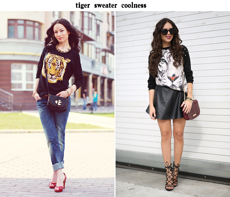 tiger blouse, tiger sweater style, tiger sweater