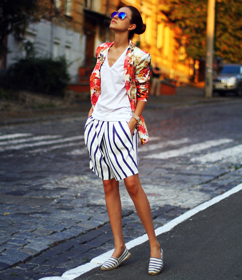 tina sizonova style, ukraine fashion blog, striped pants, floral blazer