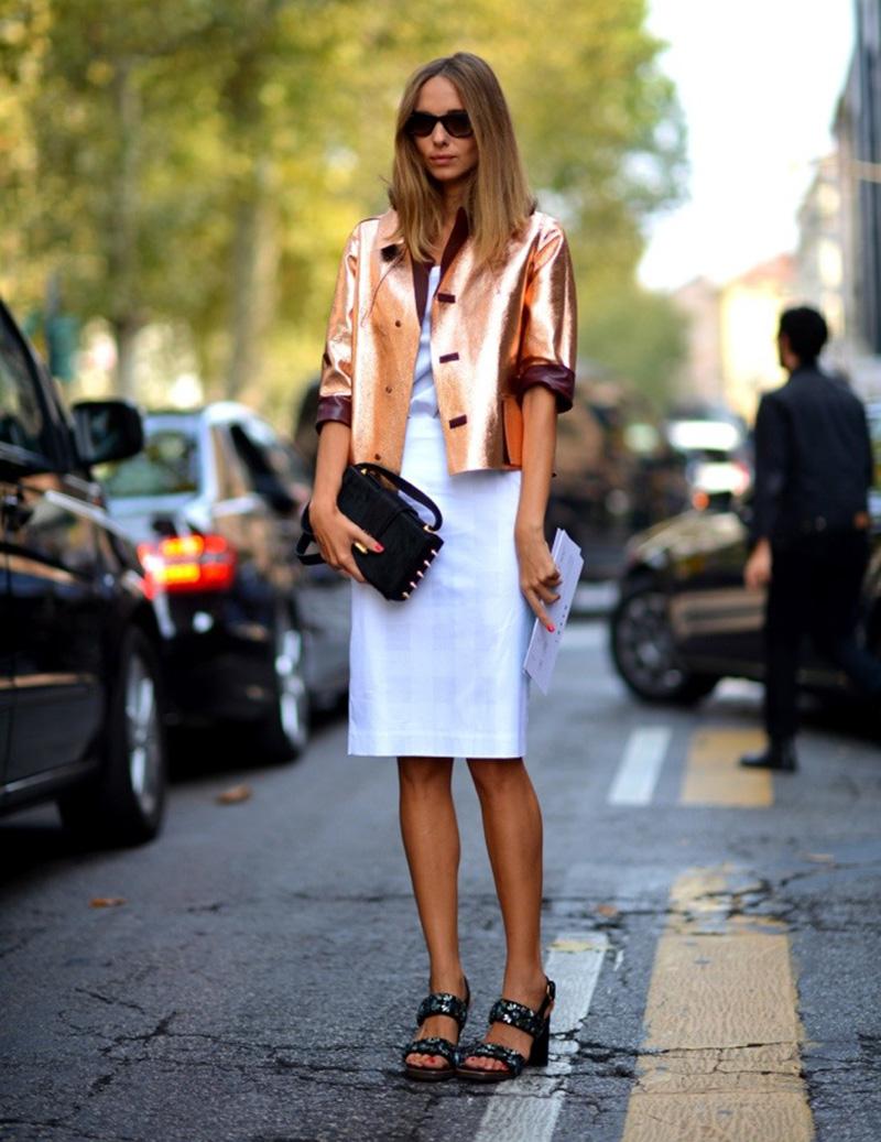 shiny jacket, street style