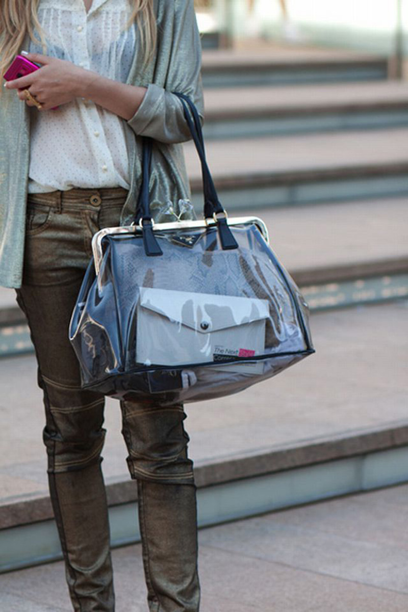 transparent fashion, transparent trend, transparency trend, sheer trend, transparent bag