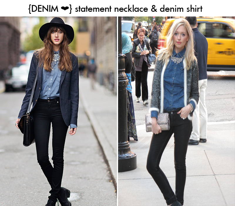 denim shirt, statement necklace denim