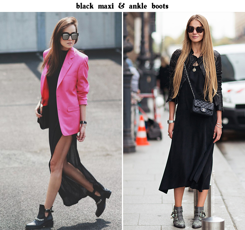 black maxi dress, ankle boots