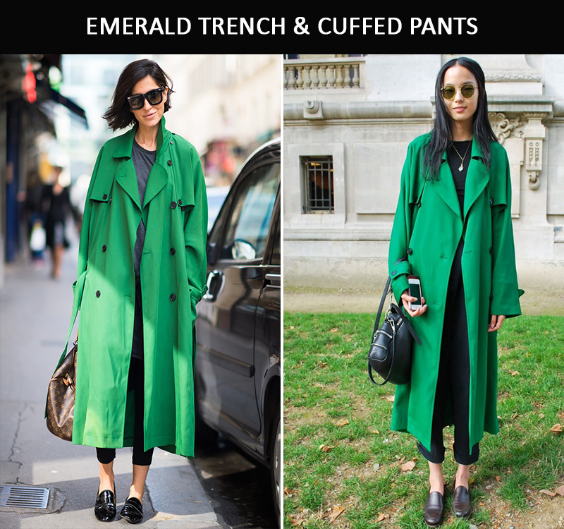 green coat inspiration, green trench inspiration