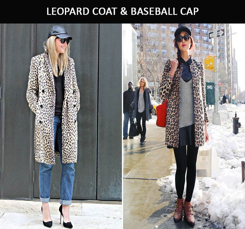 leopard coat inspiration, leather baseball cap inspiration