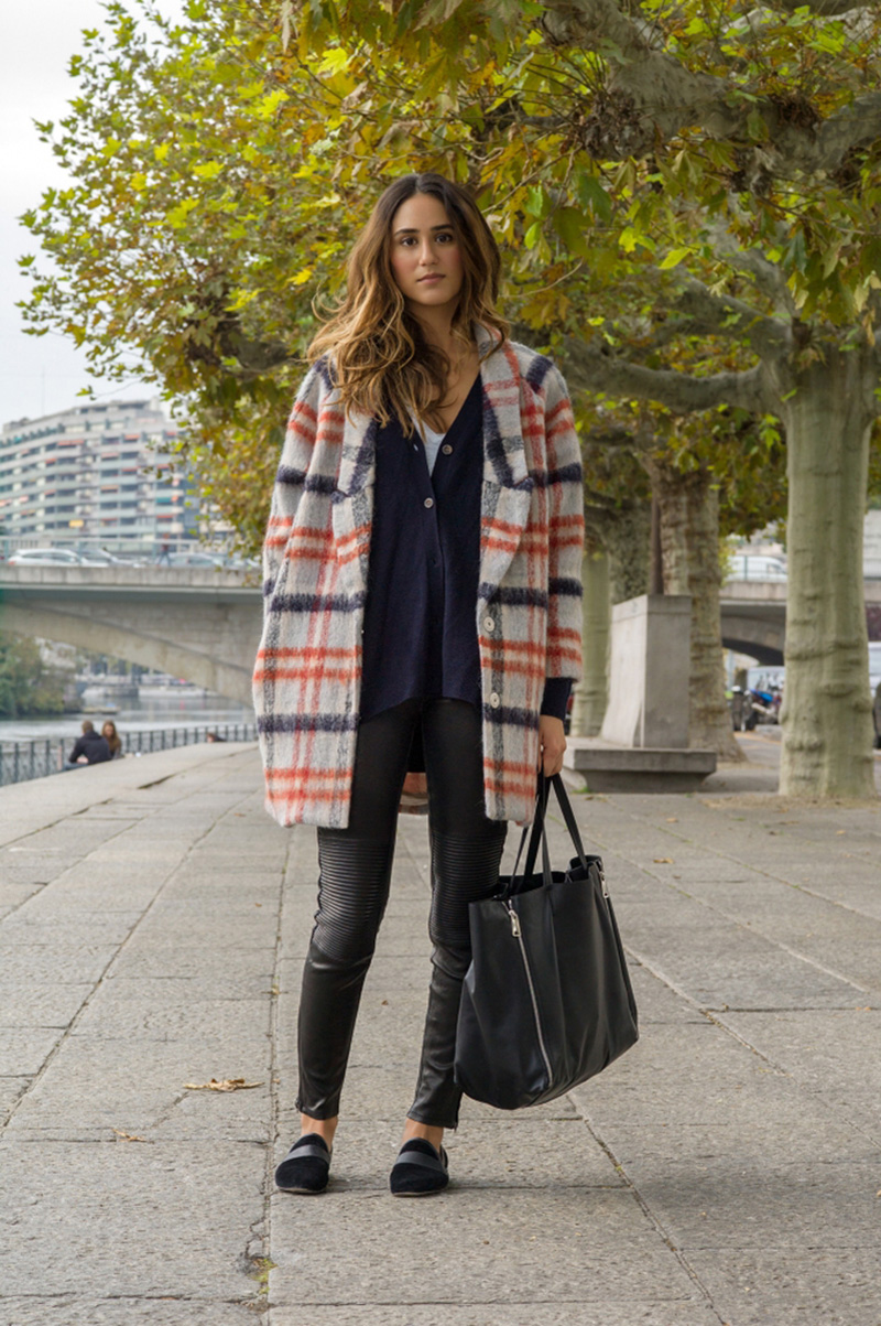 ganni mother of pearl check coat, ganni tartan coat, ganni plaid coat (1)