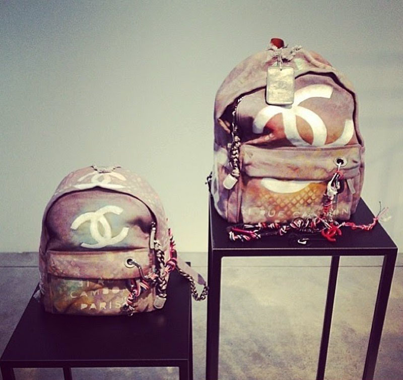 chanel canvas backpack, chanel backpack, chanel canvas grafiti backpack (9)