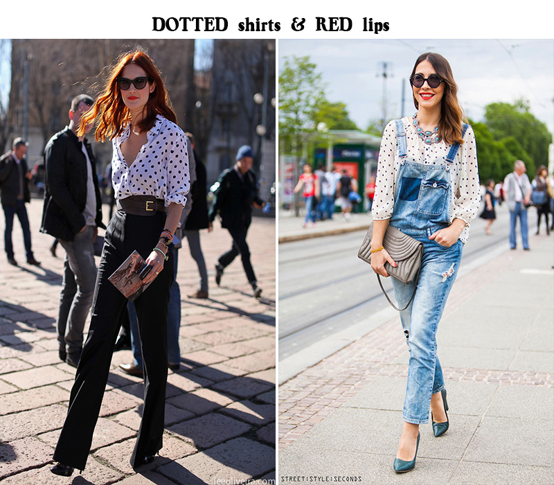 dotted shirt, dungarees inspiration, dotted blouse