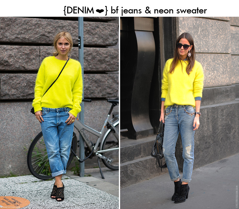 neon sweater and jeans, neon sweater