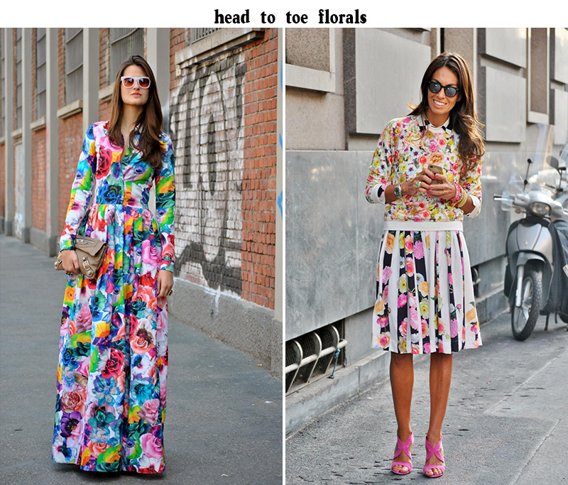 florals trend, florals head to toe, street style florals
