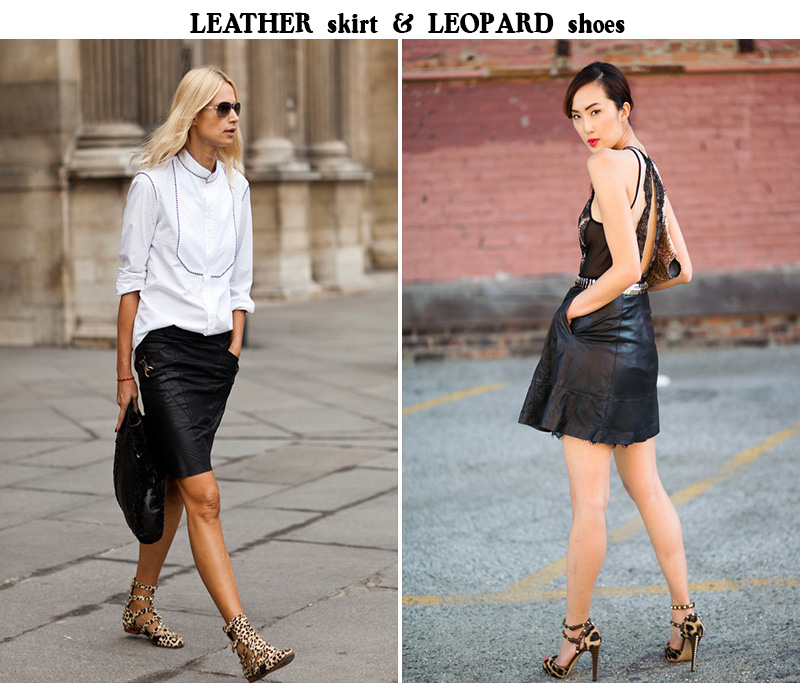 leather skirt outfit, leopard shoes outfit