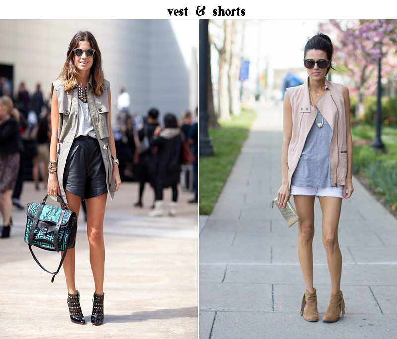 leandra medine style, shorts and vest