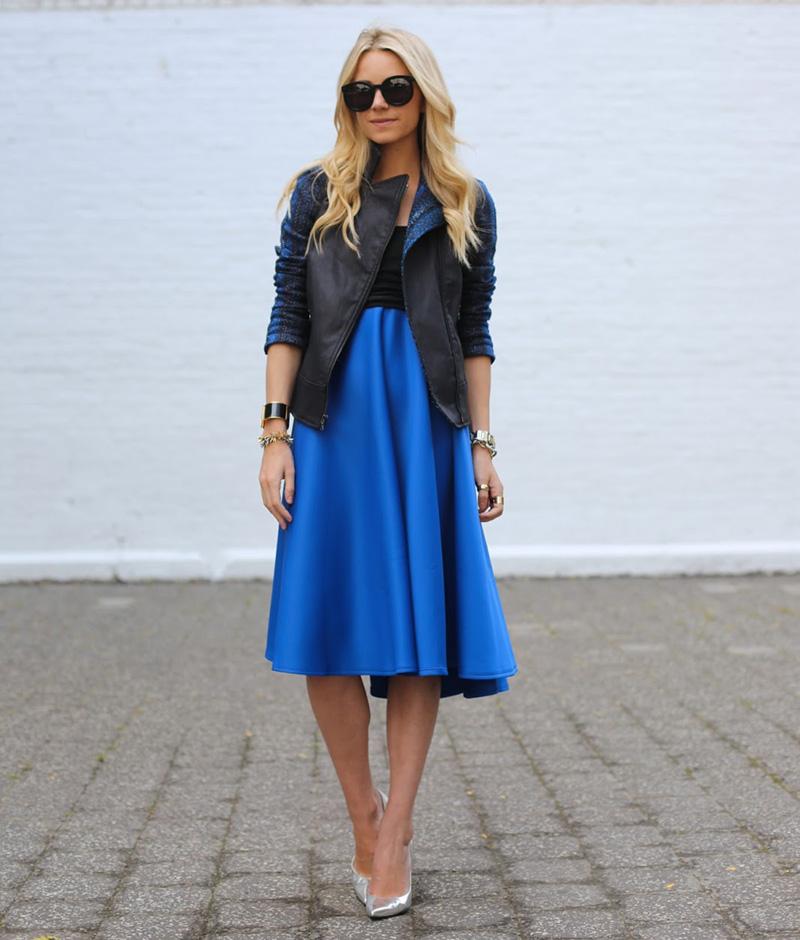 blair eadie style, atlantic pacific style, midi skirt, blue midi skirt