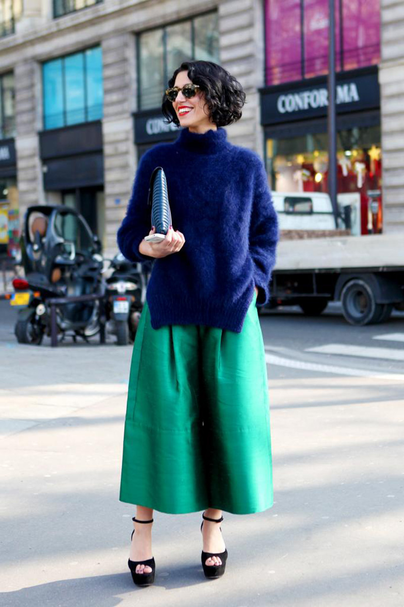 culottes trend, fluffy sweater