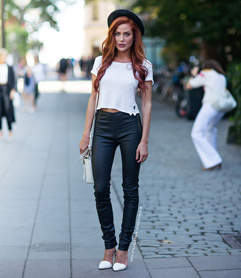 red hair, leather pants inspiration, leather pants trend