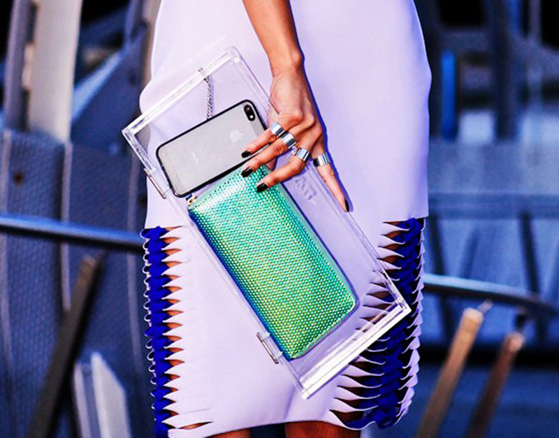 transparent fashion, transparent trend, transparency trend, sheer trend, transparent clutch