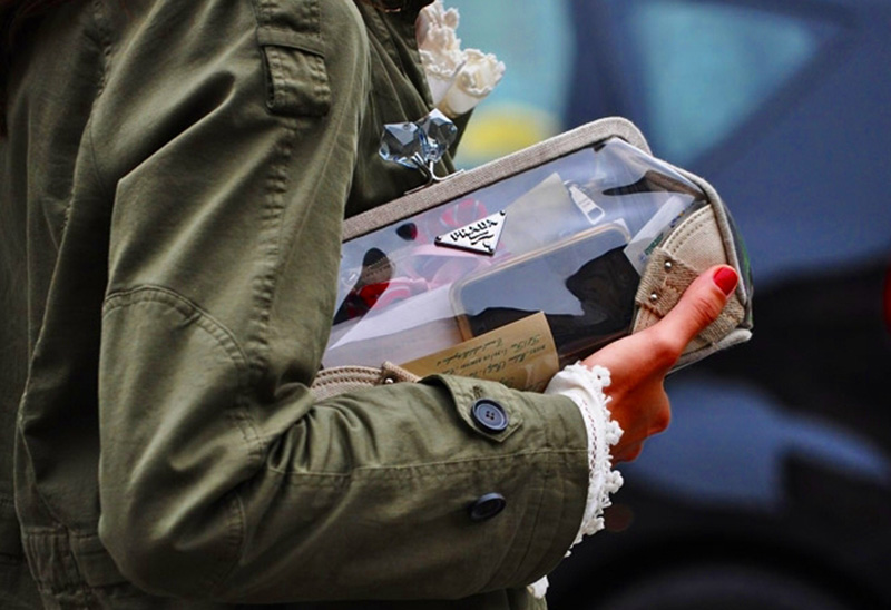 transparent fashion, transparent trend, transparency trend, sheer trend, transparent prada clutch