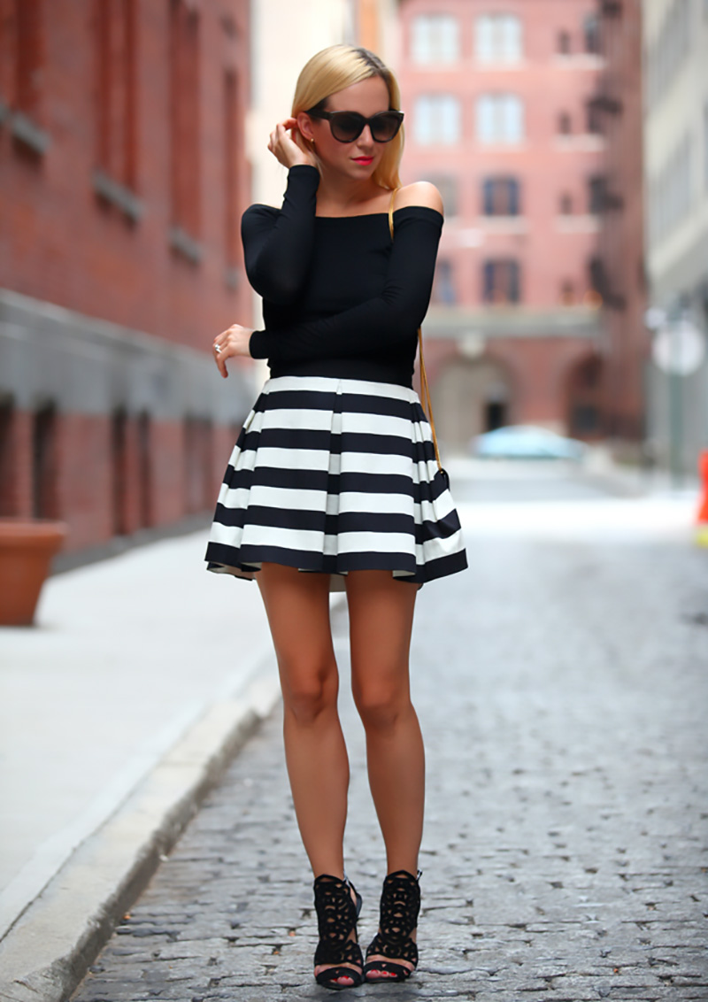 brooklyn blonde style, bw outfit, striped outfit