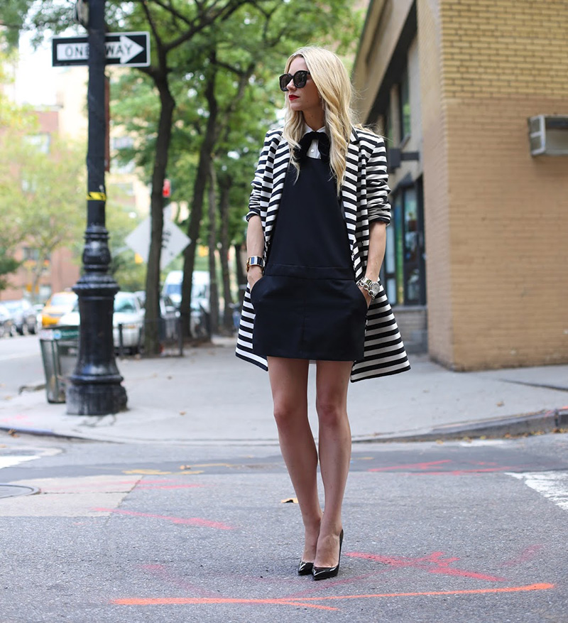 blair eadie style, atlantic pacific style, striped jacket, bw outfit