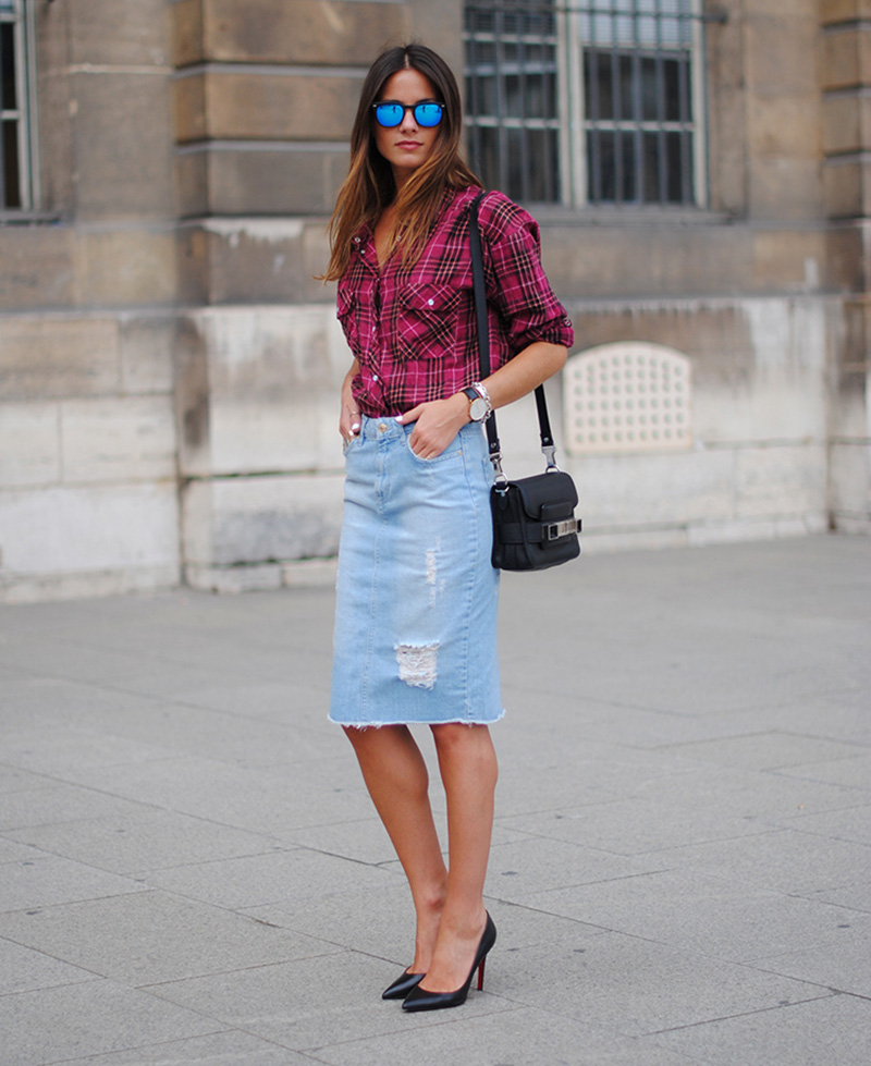 zina fashion vibe, fashion vibe style, denim pencil skirt, mirrored sunglasses