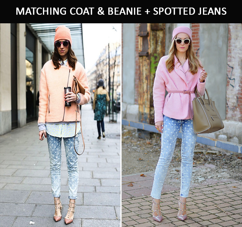 pink beanie inspiration, pink coat inspiration