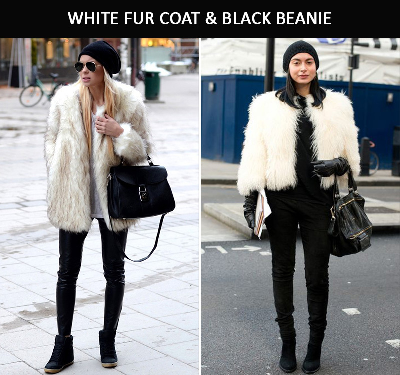 white fur coat, white fauxfur coat, beanie inspiration
