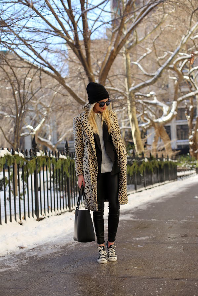 blair eadie, leopard coat and sneakers, leopard coats street style