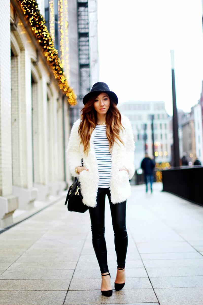 white coat, white fluffy coat, fluffy coat street style