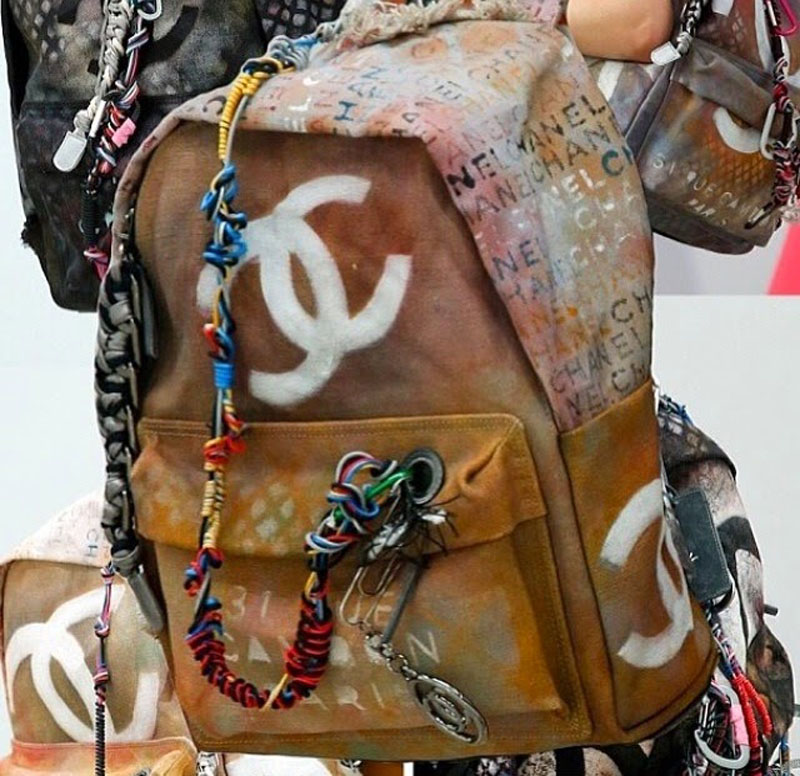 chanel canvas backpack, chanel backpack, chanel canvas grafiti backpack (3)