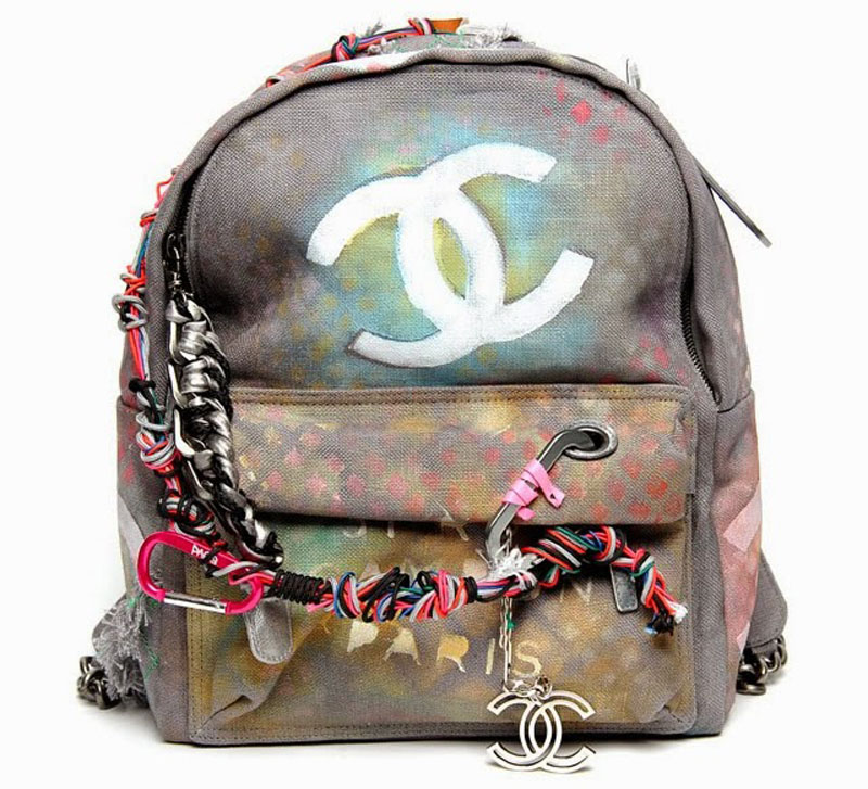 chanel canvas backpack, chanel backpack, chanel canvas grafiti backpack (13)